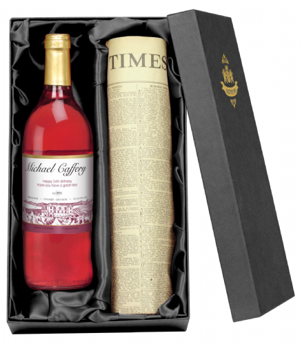 Personalised Rose Wine and Newspaper